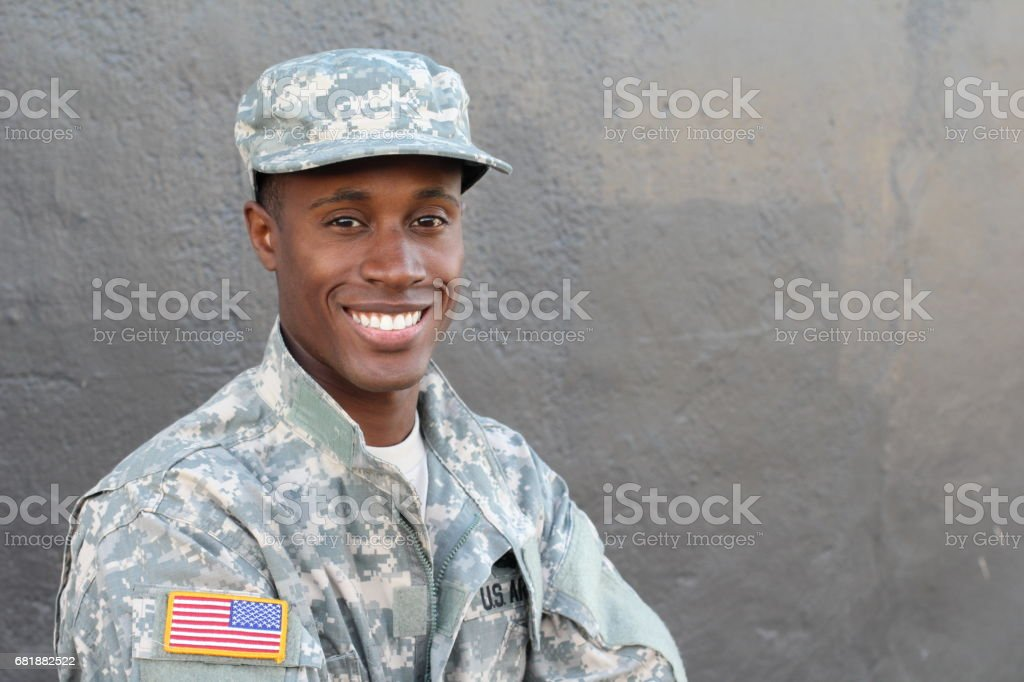 African military male smiling and laughing stock photo