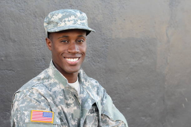 african military male smiling and laughing - army stock photos and pictures
