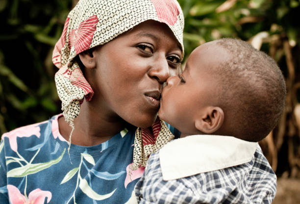 African Mother & Child Portrait stock photo