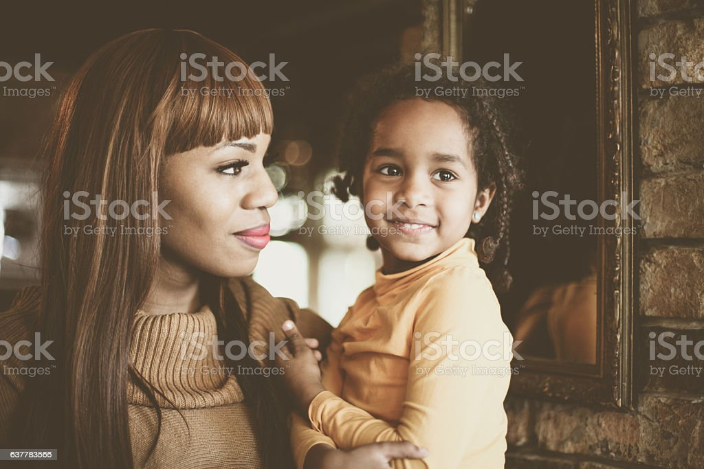 African mother and daughter. stock photo
