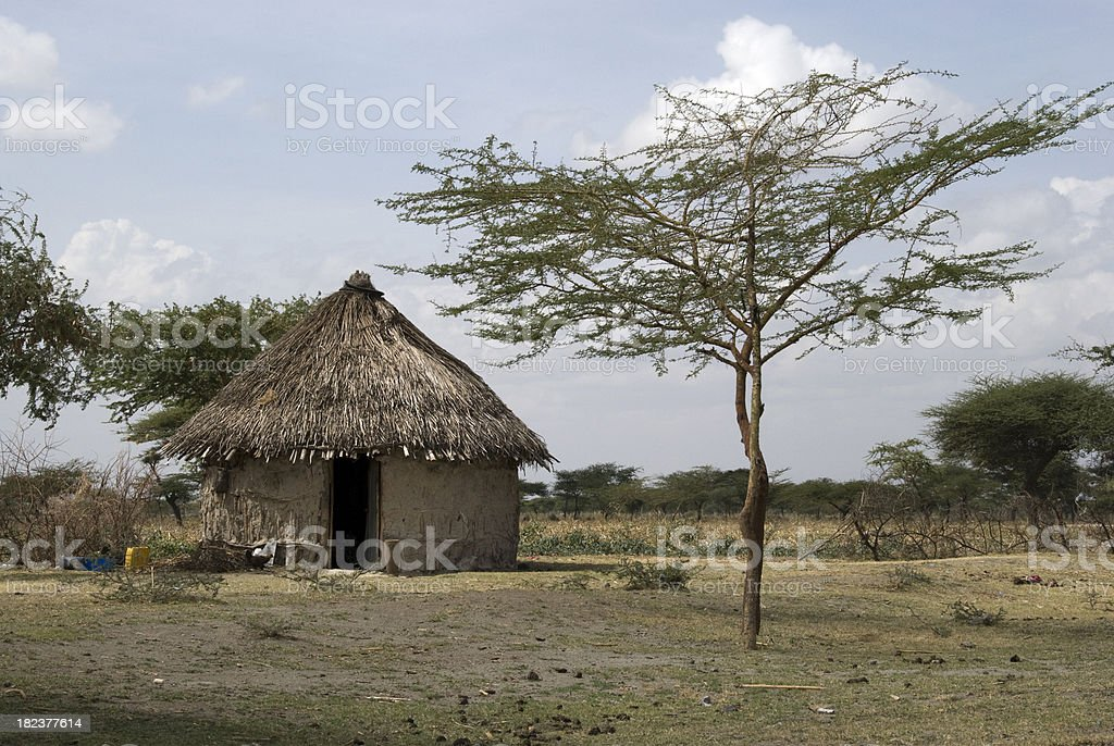 African mud house stock photo