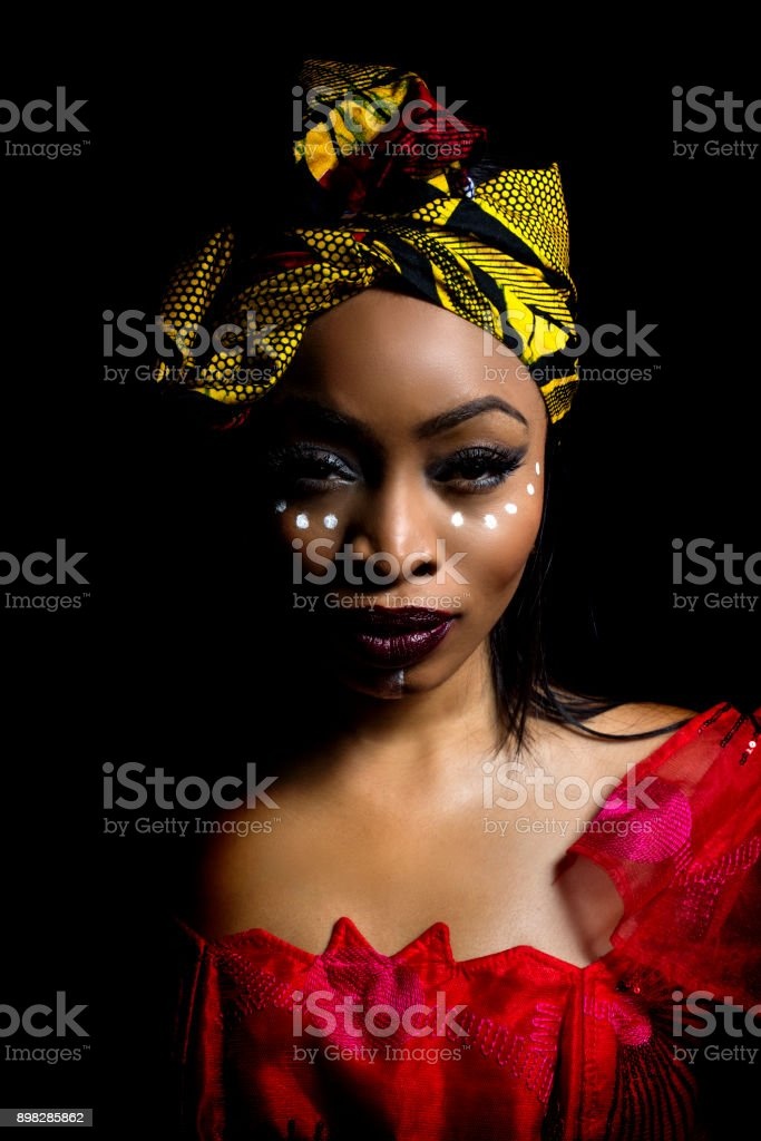 African Nigerian Fashion with Tribal Makeup stock photo