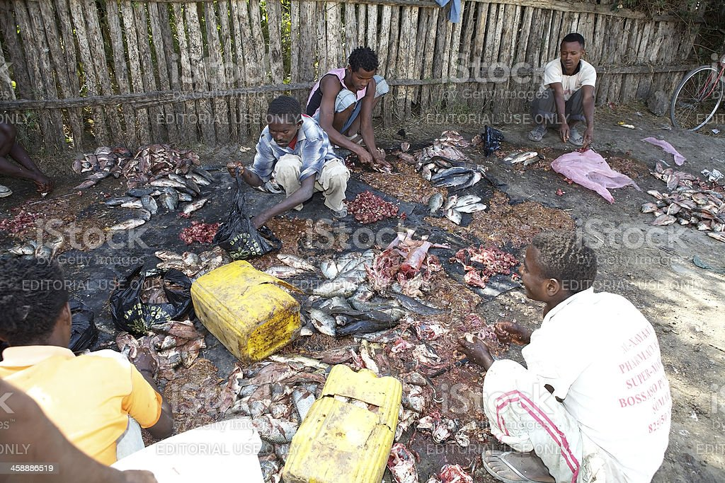 African open fish market stock photo