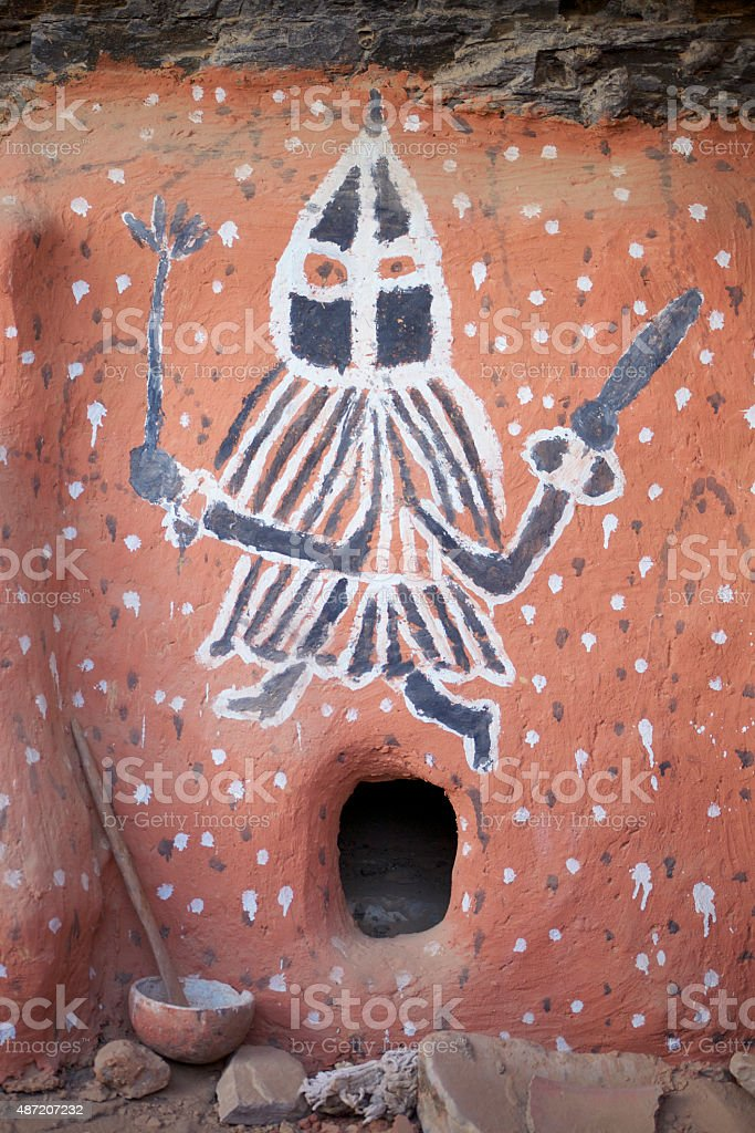 African painting, Dogon Country in Mali stock photo