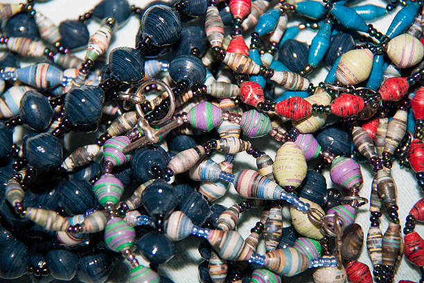 African Paper Bead Jewelry stock photo
