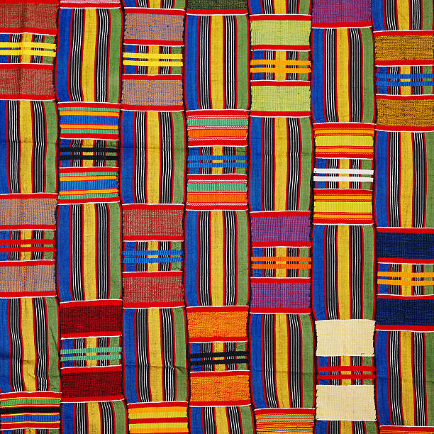 african patterns - kente cloth stock photos and pictures