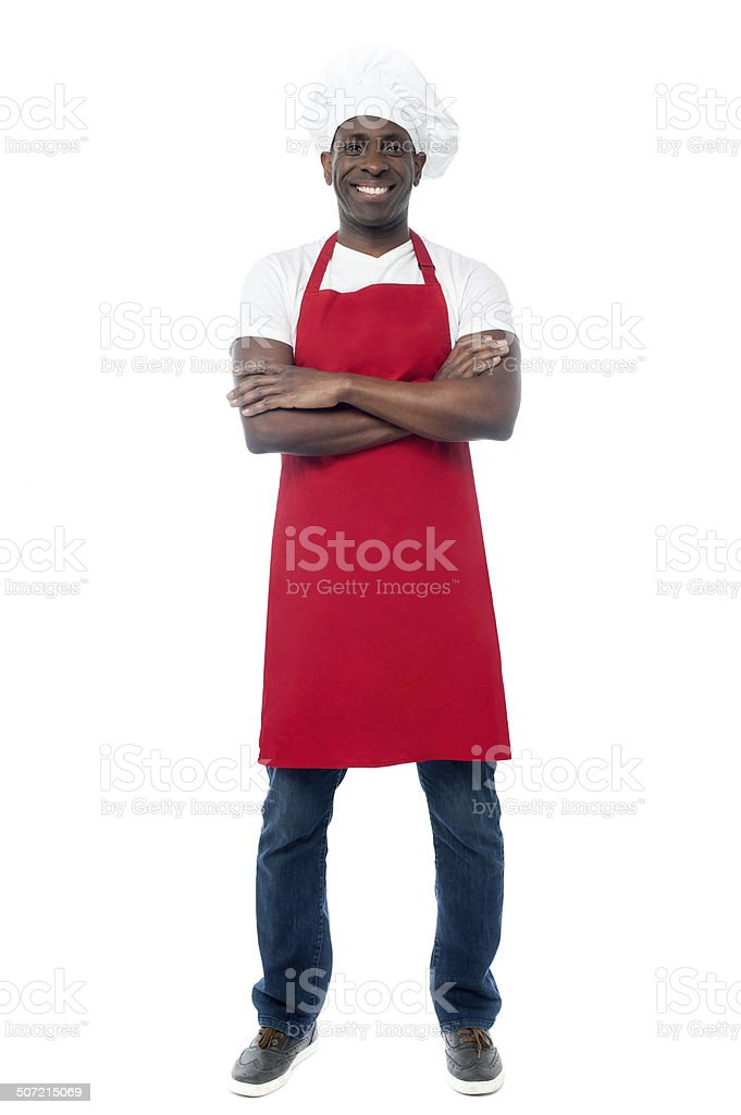 African professional chef with uniform royalty-free stock photo