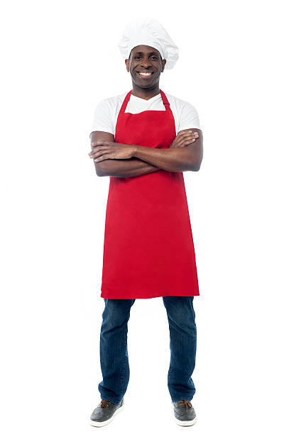 African professional chef with uniform stock photo