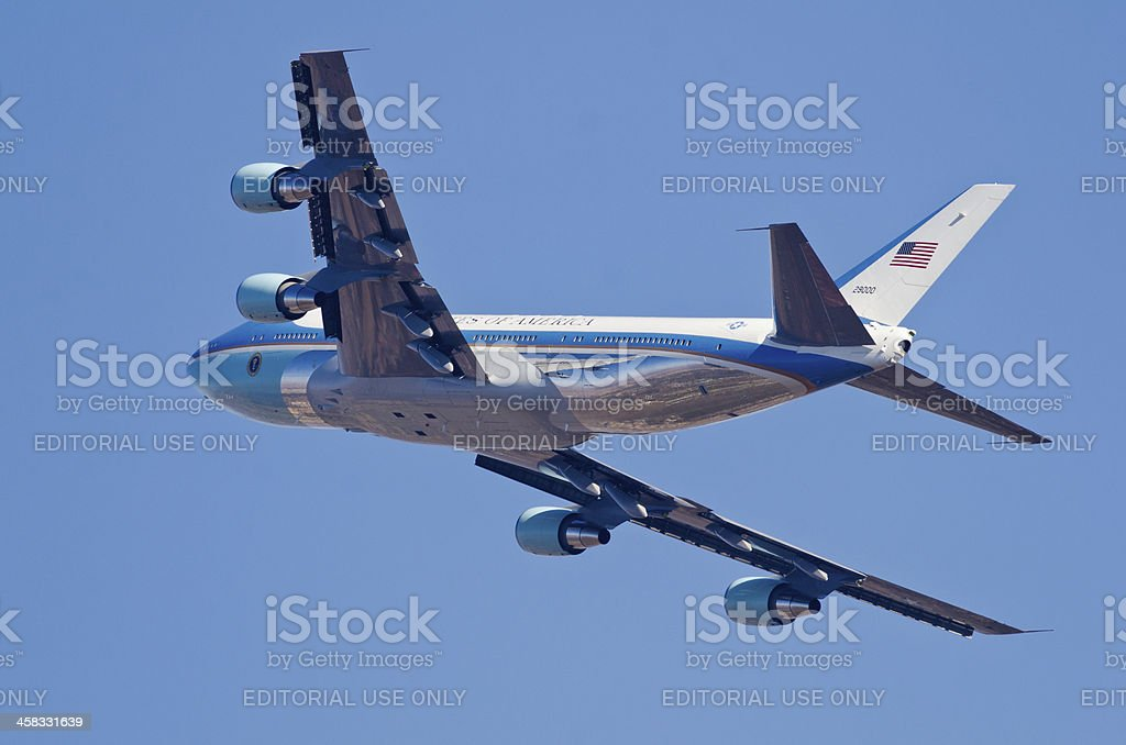 African reflections on Air Force One stock photo