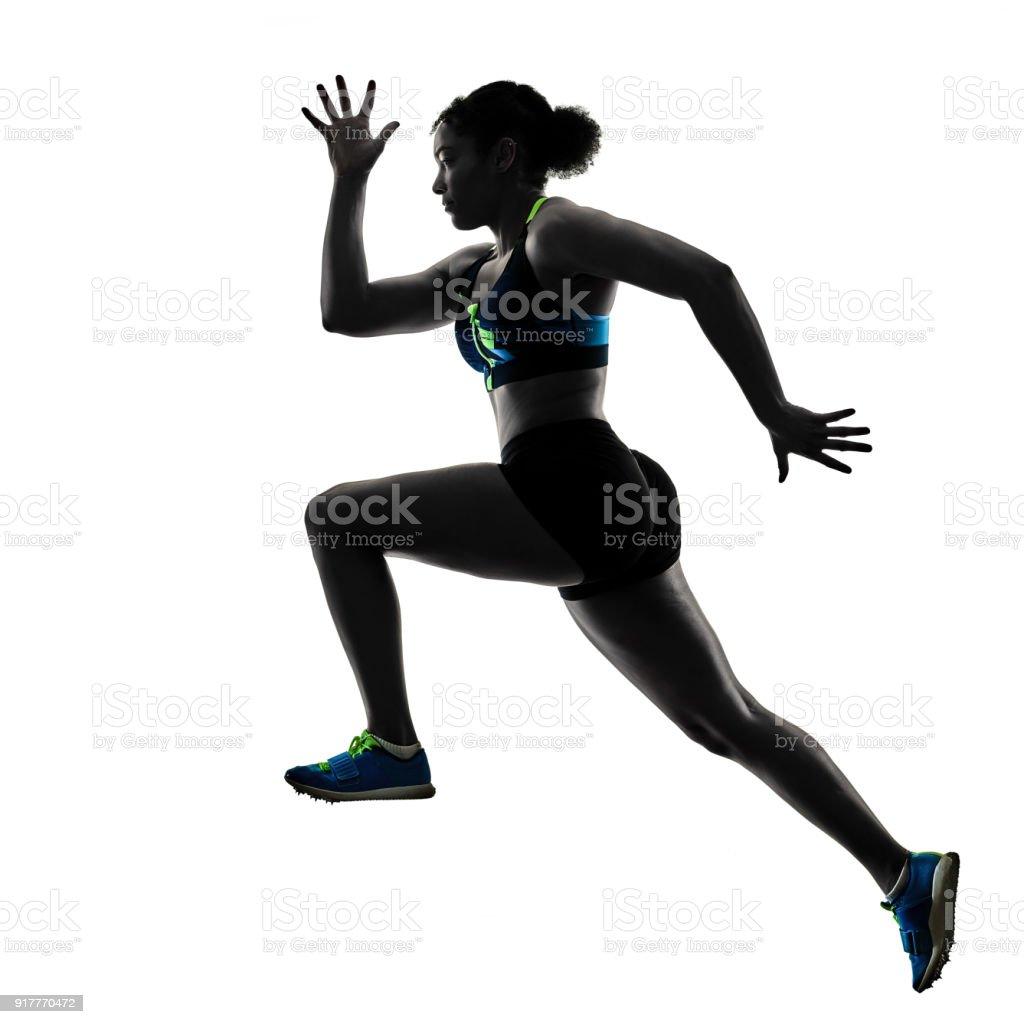 african runner running sprinter sprinting woman isolated white b stock photo