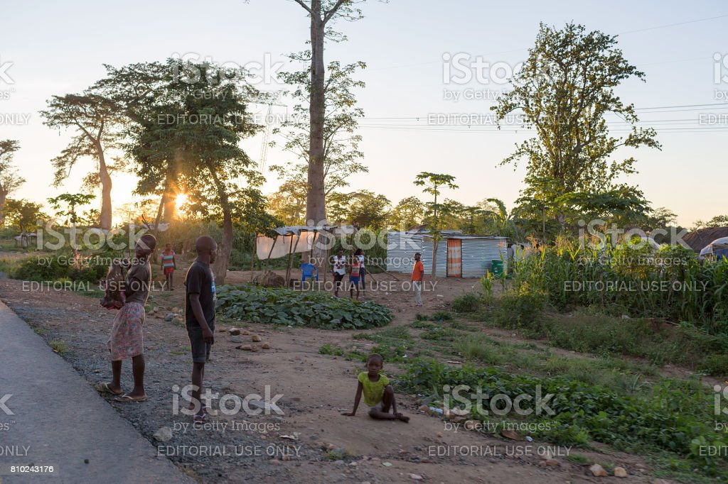DUNDO/ANGOLA -  4 JUN 2015 - African rural village in a remote place of Angola, Dundo stock photo