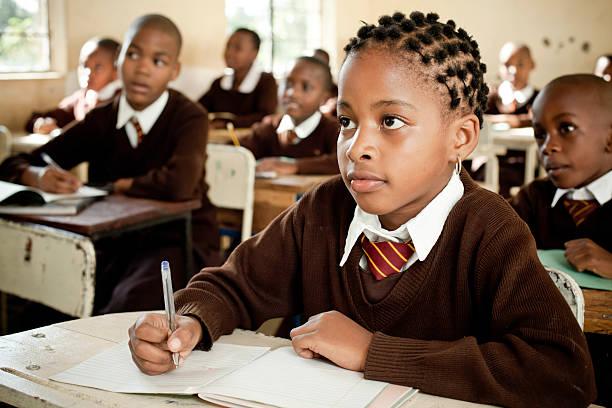 African School Children in the Classroom stock photo