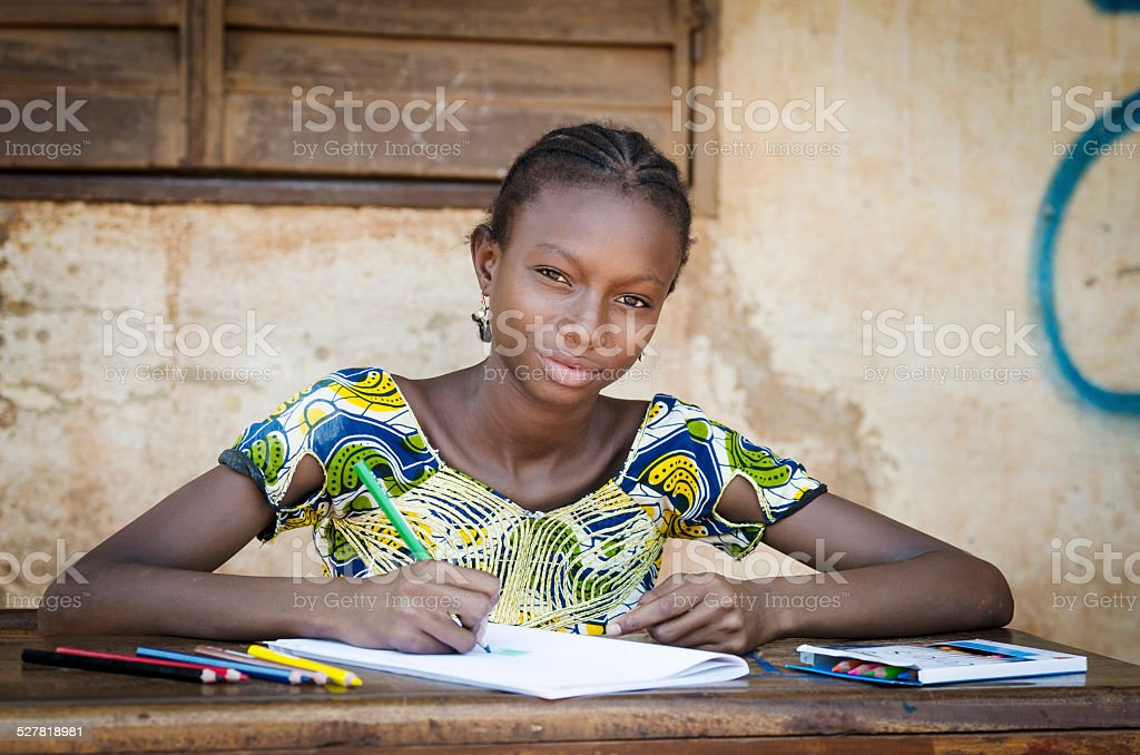 African School Girl Posing for an Educational Shot Symbol stock photo