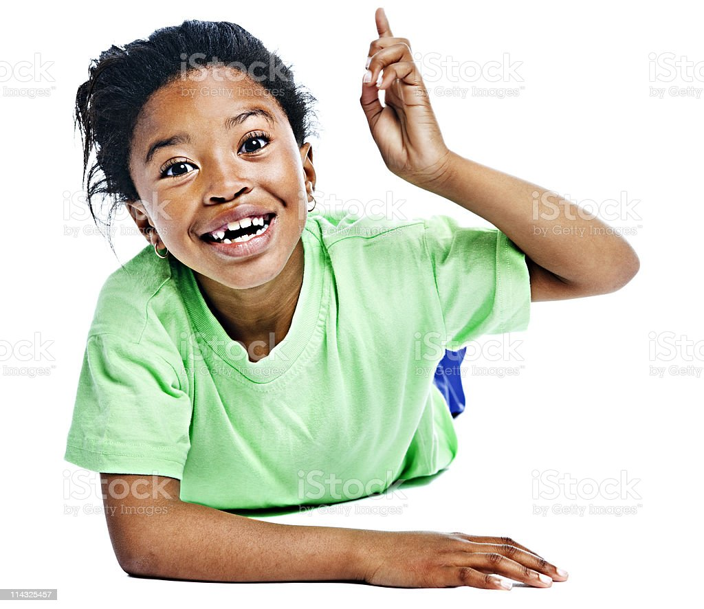 African schoolgirl asking a question royalty-free stock photo