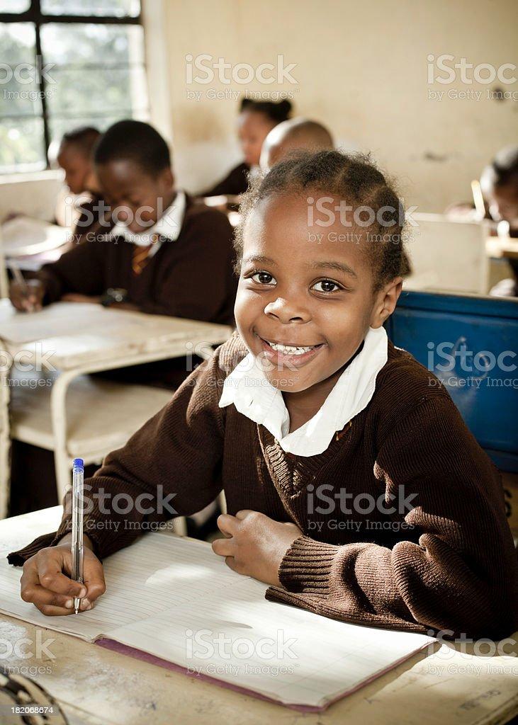 African Schoolgirl in Class  8-9 Years Stock Photo