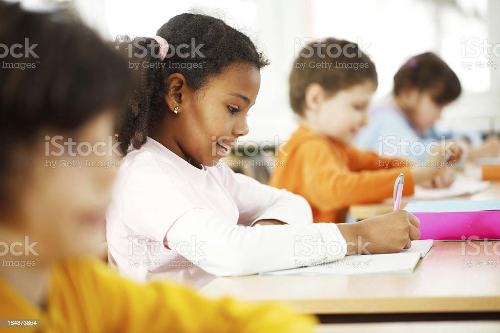 African schoolgirl in the classroom. royalty-free stock photo
