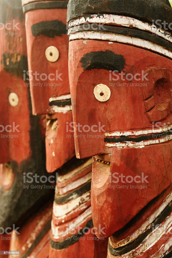 African sculpture, totems stock photo