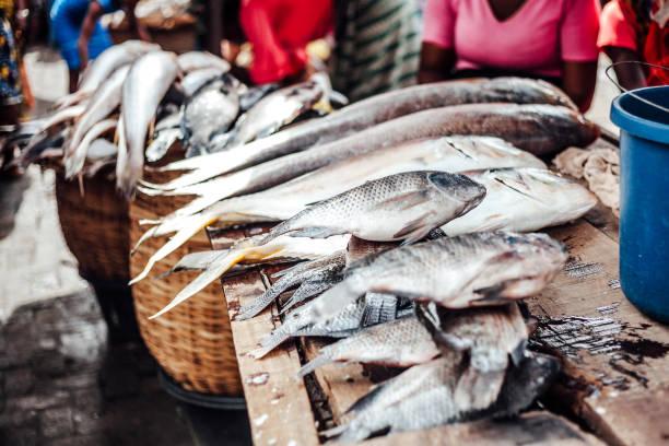 African seafood at market - Lagos, Nigeria stock photo