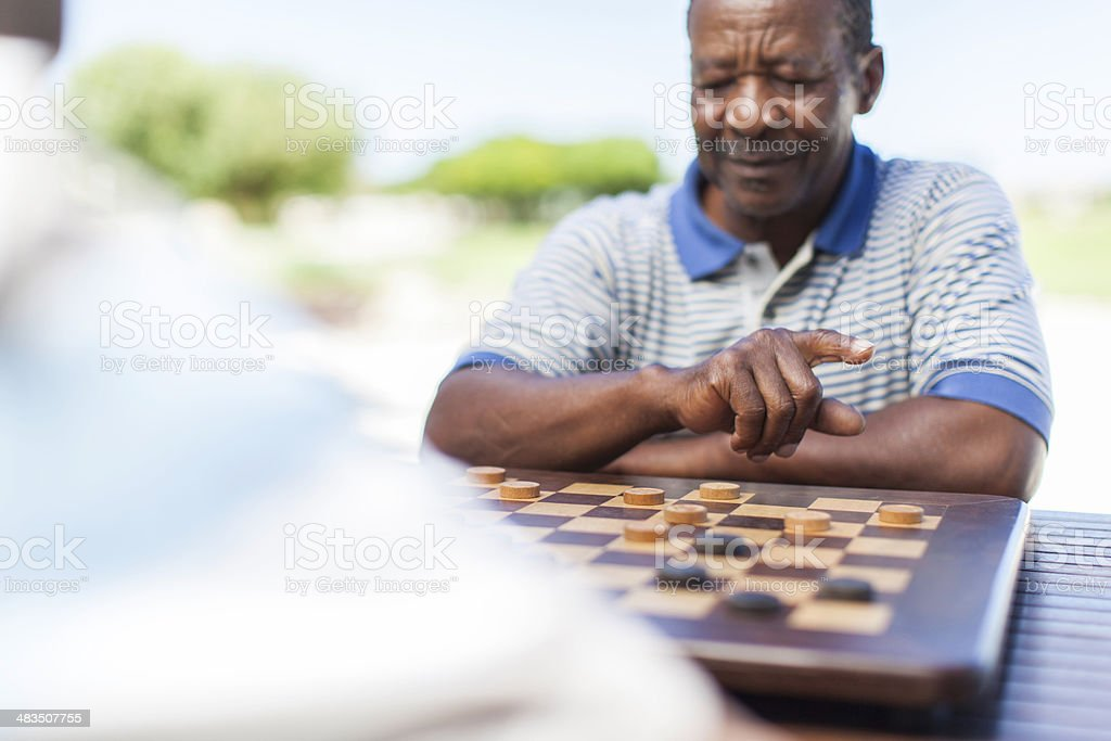 African senior about to make his next move stock photo