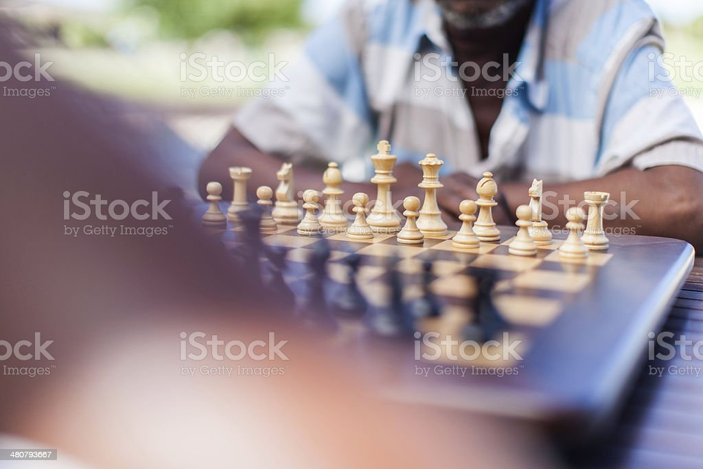 African senior chess players about to start playing stock photo