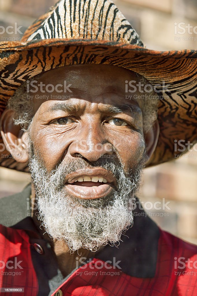 African Senior Talking stock photo