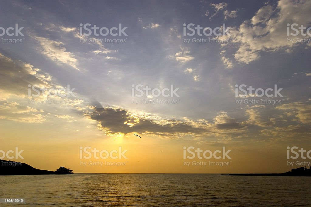 African sky on the Kazinga channel royalty-free stock photo