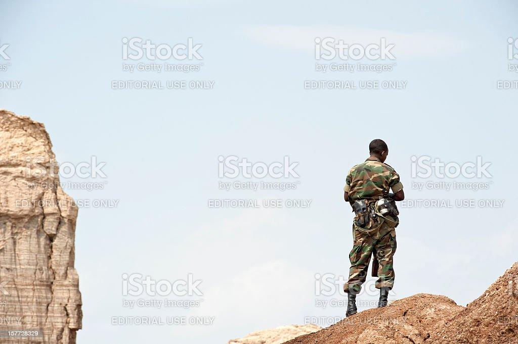 African soldier in the Danakil Desert, Ethiopia stock photo