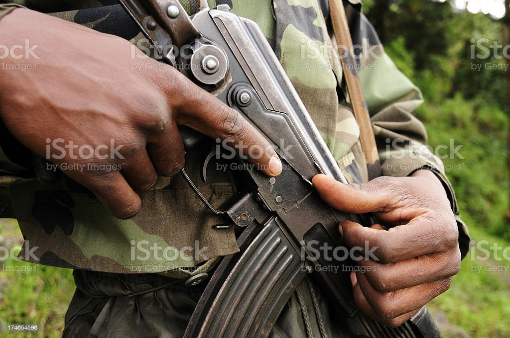African Soldier stock photo