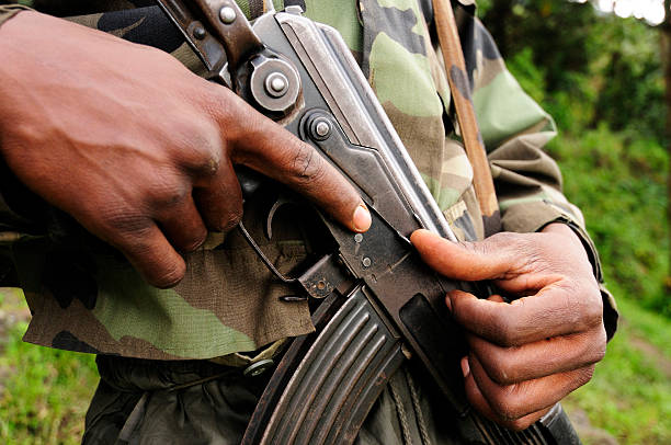 african soldier - democratic republic of the congo stock photos and pictures