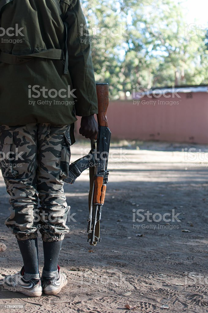 African soldier with kalashnikov royalty-free stock photo