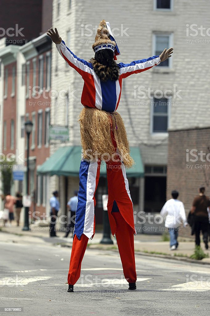 African stilt walker stock photo