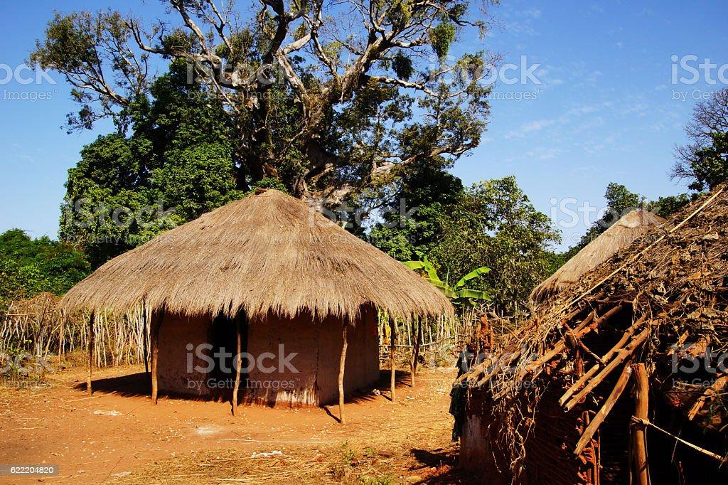 African straw hut stock photo