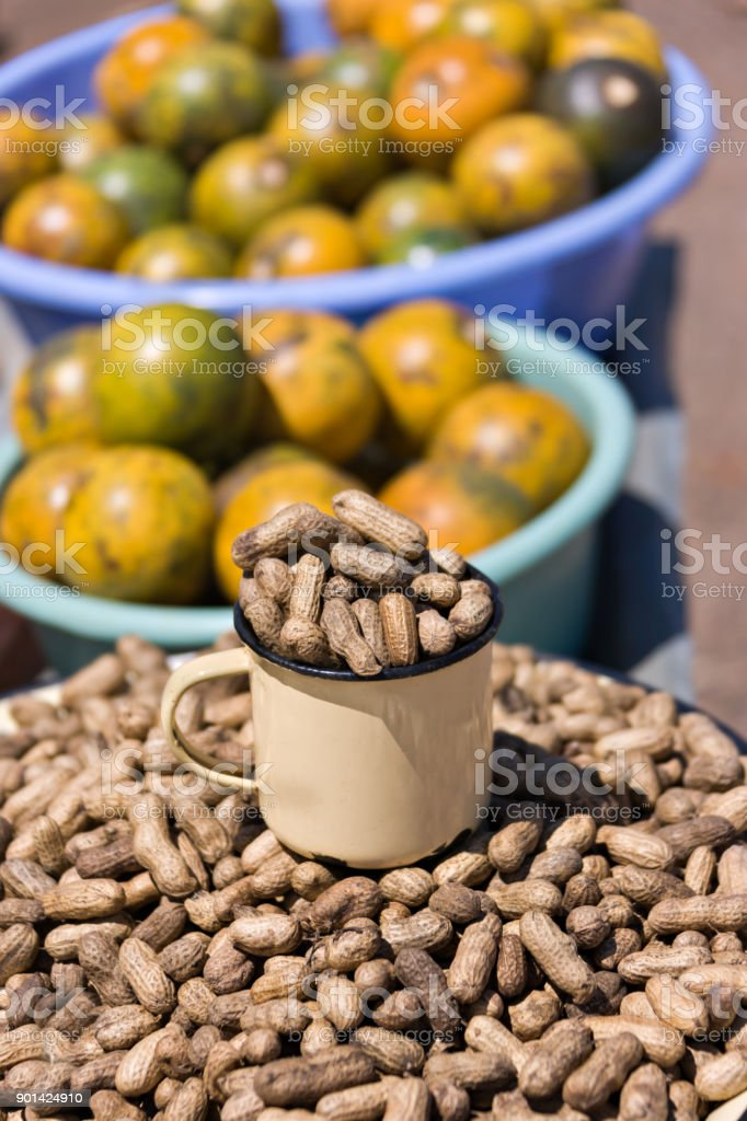 African Street Vendors Selling Traditional Food Stock Photo