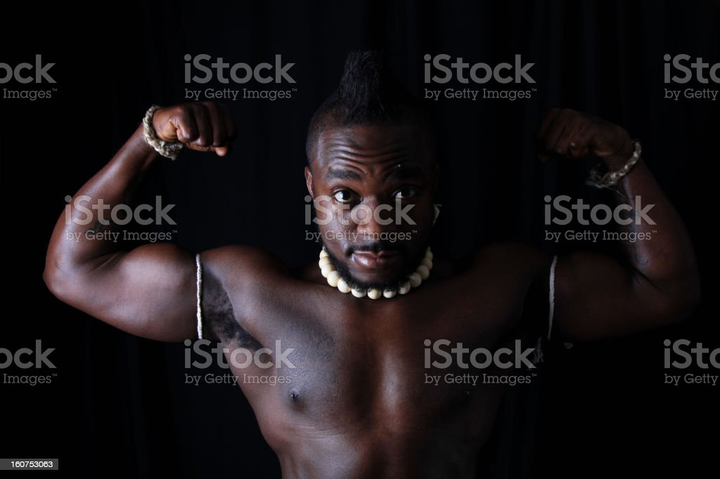 African Strong Man Pose stock photo
