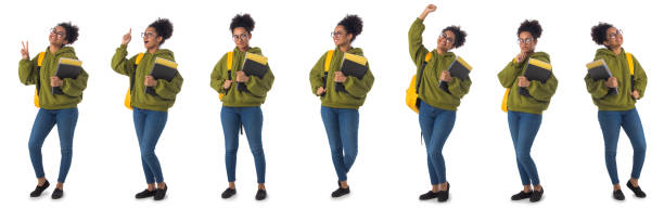 African student with backpack isolated stock photo