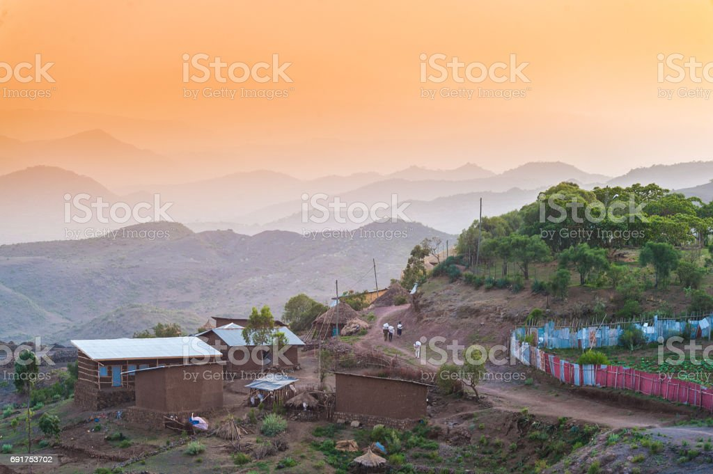 African Sunset Scene stock photo