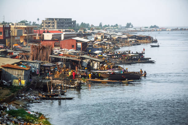 African town on the riverside - Cotonou, Benin stock photo
