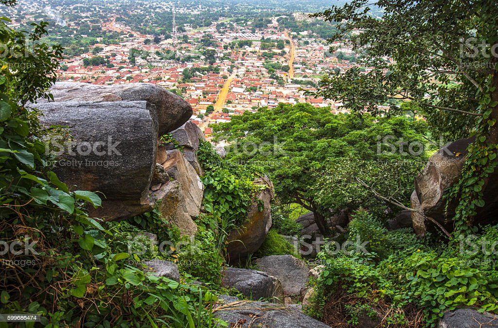African town seen from hill top. Dassa-Zoume, Benin. stock photo