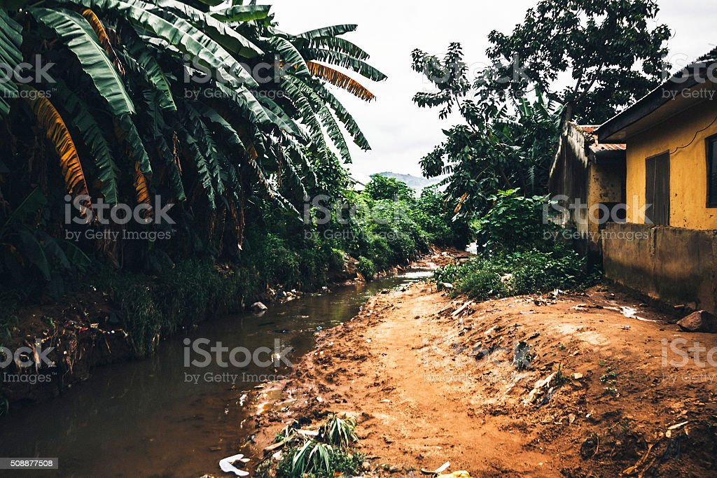 African town slum. Abuja, Nigeria. stock photo