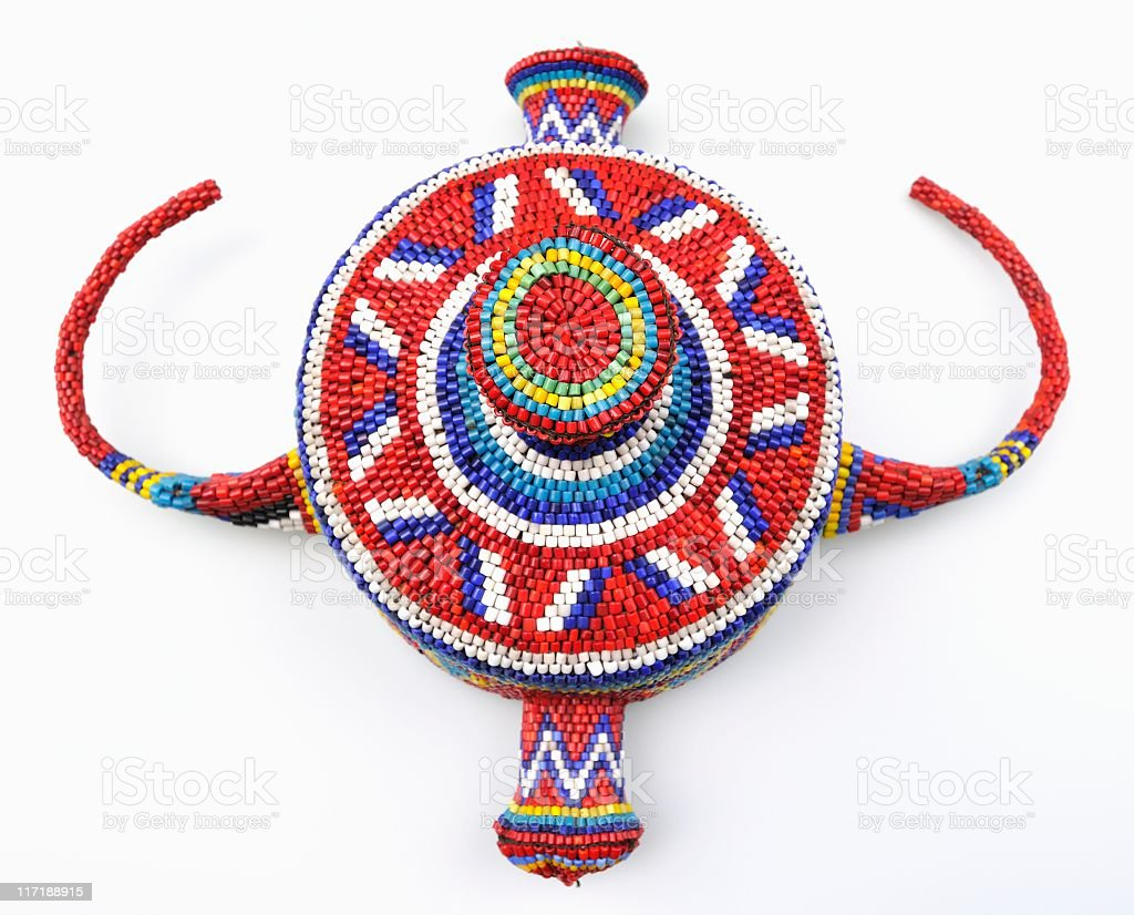 African traditional  Congolese headdress with glass beads isolated on white stock photo