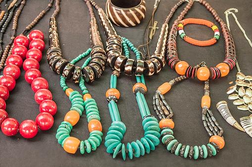 istock African traditional handmade beads bracelets, necklaces, pendants. 492606936