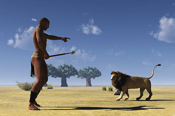 African tribal hunter and lion stock photo
