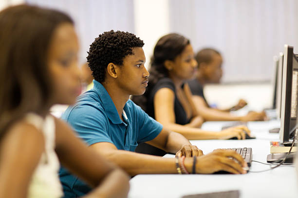 african university students in computer room stock photo