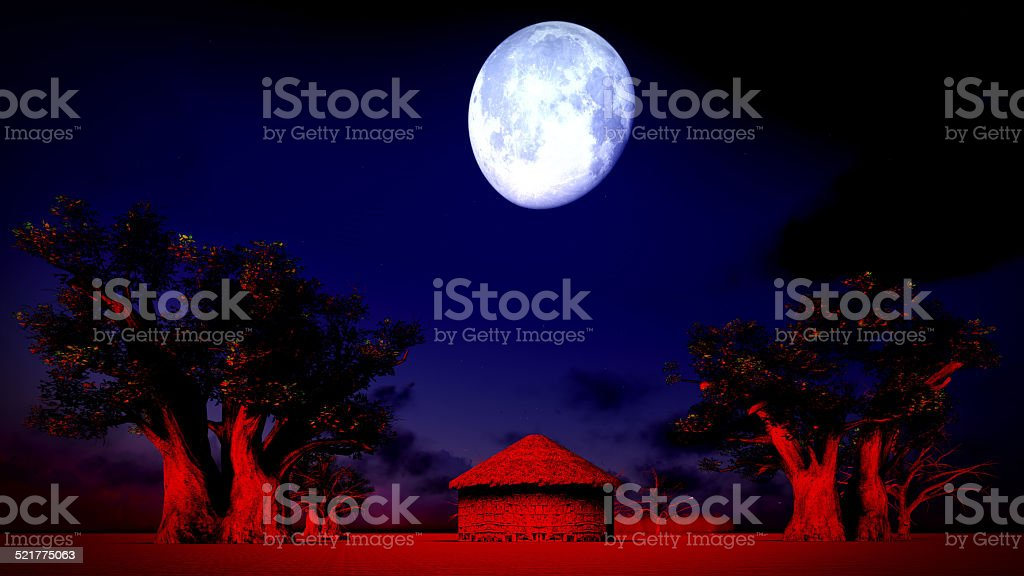 African village at night stock photo