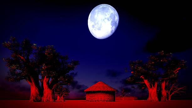 African village at night stock photo