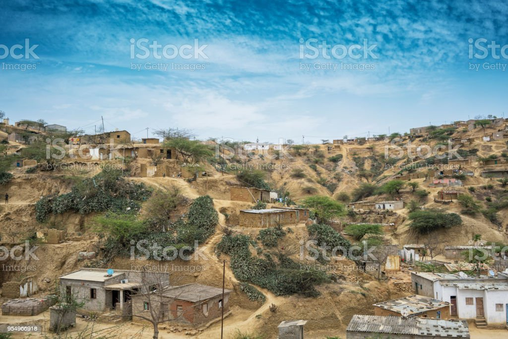 African village located in Sumbe, Angola, Africa, Villa due on a hill. stock photo