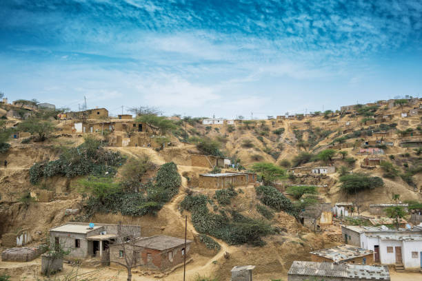 african village located in sumbe, angola, africa, villa due on a hill. - angola stock photos and pictures
