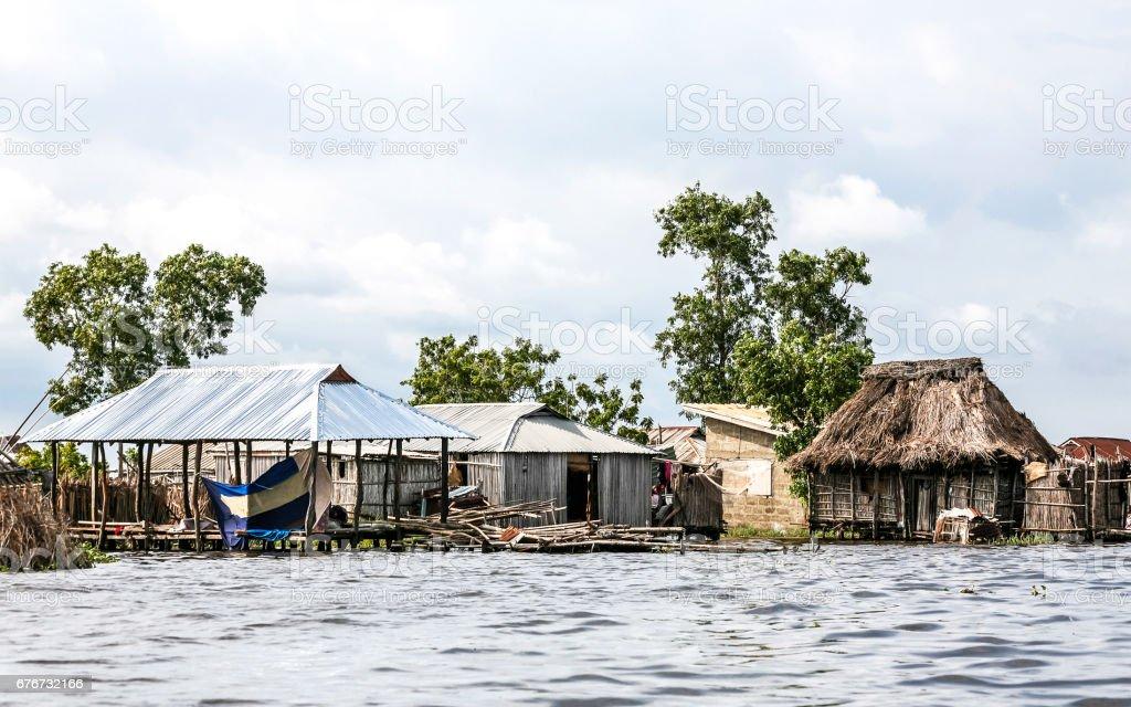 African village on the water. Ganvie, Benin. stock photo