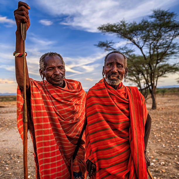 african warriors from samburu tribe, central kenya, east africa - kenyan culture stock photos and pictures