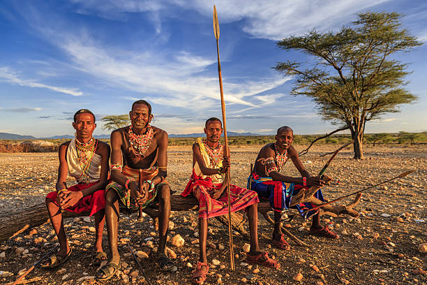 african warriors from samburu tribe, central kenya, east africa - warrior person stock pictures, royalty-free photos & images